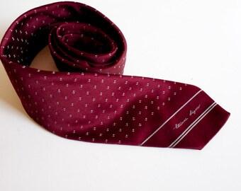Vintage Burgundy red Necktie by Etienne Aigner