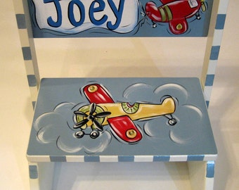 Personalized Airplane Flip Style Step Stool