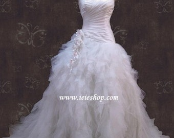 Strapless Sweetheart Ruffle Tulle Feathery Wedding Dress