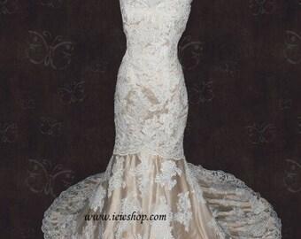 Sweetheart Ivory Lace Champagne Lining Mermaid Wedding Dress| Lace Wedding Dress