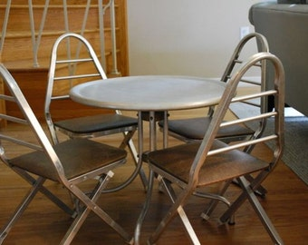 Two Vintage Mid Century Aluminum Child's Folding Chairs