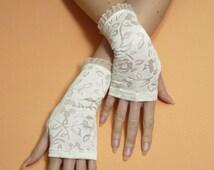 Romantic Regency Fingerless Gloves, Ivory Armwarmers for Her, Edwardian Mittens, Baroque, Boho, Wedding, Summer Sleeves