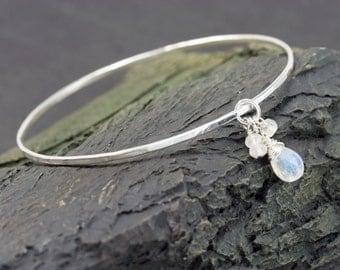 Moonstone Bangle Bracelet, Sterling Silver Bangle, Hand Hammered Bangle Bracelet, Rainbow Moonstone Charm