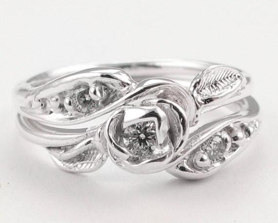 Tea Rose Wedding Set: Sterling Silver - Made to Order