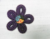 Purple wool yarn knitted  brooch for kids, girls, children. Kids jewelry, flower brooch, fiber jewelry.