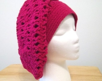 Hat - Crochet Beret in Hot Pink - Great for Any Time of the Year