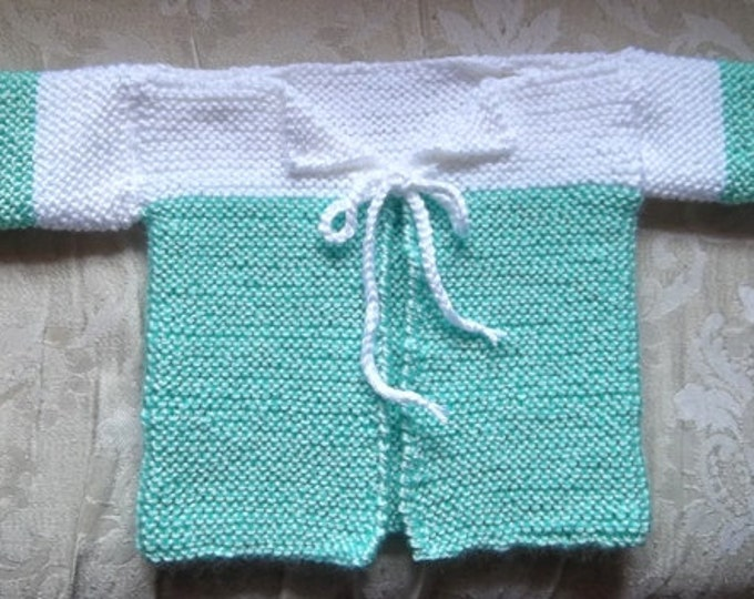 Jacket - Handknitted Baby Jacket in Green and White for 6 month old