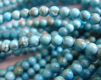 14. Turquoise 2mm Round Bead 16 Inches 190pcs Stones Beads