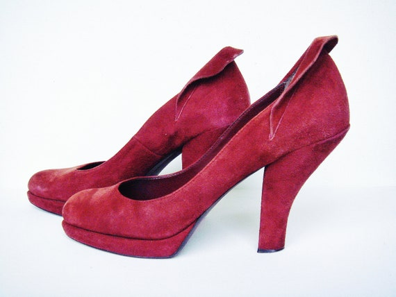 Linea Paolo Burgundy Suede Pumps - Fold-Over Ankle Detail-  Vintage Heels size 10 W