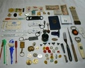 Junk Drawer Blast From the Past - Advertising Tokens Parade Ribbon Stir Sticks Shriner Pins Match WWII Currency