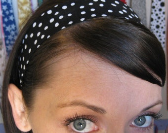 Black with White Polka Dots - Stay In Place Headband
