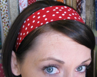 Red Stay Put Headband w/ White Polka Dots