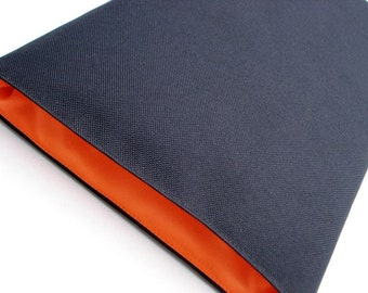 Apple MacBook Air 13 inch sleeve in Black Corduta outer and Orange Lumo Microfibre Lining