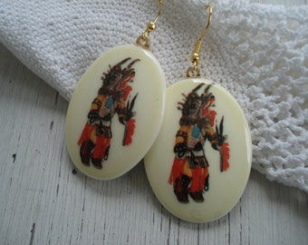 Vintage Wolf Kachina Katsina Gold Earrings Native Tribal Inspired Medicine Totem Southwest Christmas