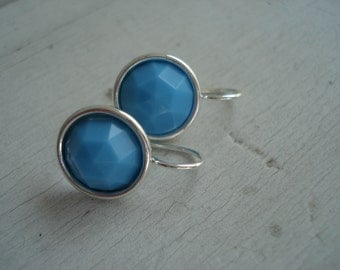 Vintage Turquoise Faceted Glass Earrings in Silver