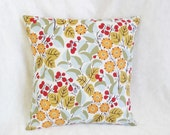 """Orange & gold Floral Pillow cover, modern, leaves, light blue, red berries, 16"""", 12x16"""", 18 inches"""