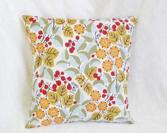 "Orange & gold Floral Pillow cover, modern, leaves, light blue, red berries, 16"", 12x16"", 18 inches"