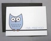 Blue Mini Dot Owl Miss You Farewell 4-Bar Folded Card (Set of 10)