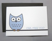 Blue Mini Dot Owl Miss You Farewell 4-Bar Folded Card