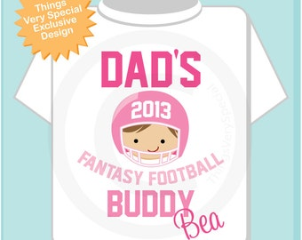 Girls' Football Shirt, Personalized Football Shirt, Dad's Football Buddy Shirt or Onesie with childs name