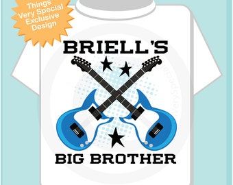 Big Brother Guitar Rocker Shirt or Onesie, Personalized Big Brother Shirt, Infant, Toddler or Youth sizes t-shirt (04262013a)