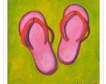 pink flip flops. fine art print. beach. tropical beach wear. thongs. sandals. flops. pool. summer. fashion. sand. coastal. resort. beachy.