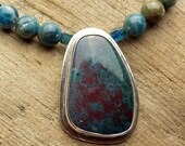 Jasper Pendant with Apatite and Kyanite in Sterling Silver