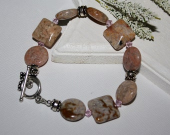 Gemstone Bracelet, Jasper, Rosaline Swarovski Crystals, Bali Silver, Sterling Silver, Size 7.5, Natural Tones, Earthy, Brown and Pink
