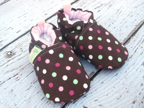 Classic Pink Sprinkes Polka Dot  All Fabric Soft Sole Baby Shoes / Made to Order / Babies