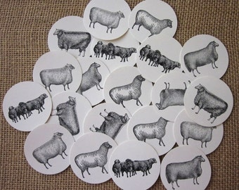 Sheep Lamb Tags Round Paper Gift Tags Set of 10