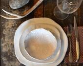 Keramik Geschirr Set, handgefertigte Keramik, weiße Geschirrset, rustikale Geschirr, Teller, Schale aus Keramik, Keramik