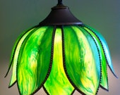 Vintage Green Lotus Flower Tulip Hanging Light Fixture Pendant Stained Glass Tiffany Look with Gold chain and plug