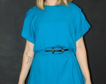 Vintage Teal DRESS, Damon II, 1980s