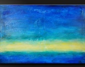 Ocean Breeze 3 - Abstract Acrylic Painting - 24 x 36 - Highly Textured Original Contemporary Wall Art Blue Yellow