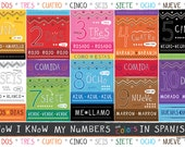 Kids Spanish Number and Color Chart Placemat