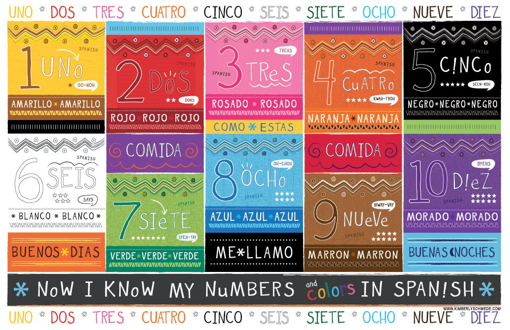 Kids spanish number and color chart placemat for Colors in spanish
