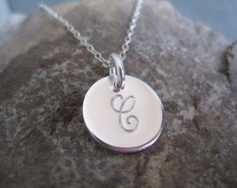 """Small Initial Necklace - 1/2"""" - Sterling Silver Initial Necklace - Silver Initial Charm - Custom Initial Necklace, Gifts for Women, Jewelry"""