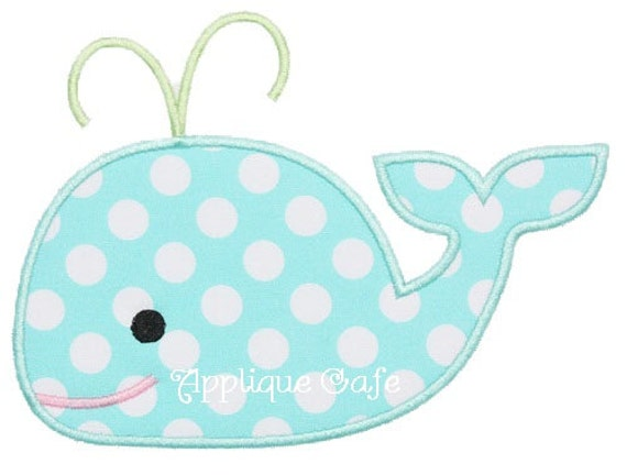 Whale machine embroidery applique design