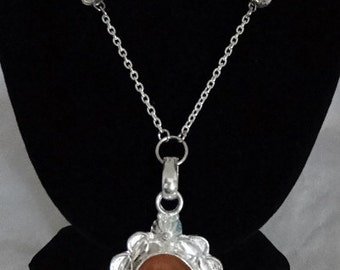 Fancy Silver  Scallop Edge  Carnelian Gemstone Necklace