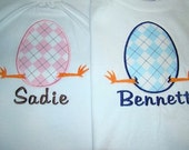 Sibling Easter Egg Applique Tee for boy or girl.  Eggbert Shirt is Great for Easter Egg Hunts