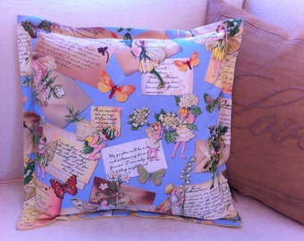 """Pillow Cover Flowers Fairies Butterflies Ephemera Vintage Distressed (for 16"""" insert; not included)"""