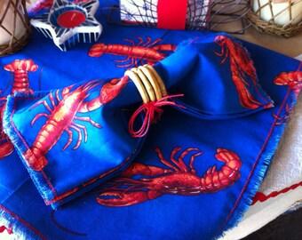 "Lobster Table Runner, Frayed Edge, Red & Royal Blue, 84"""