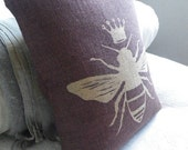 hand printed mulberry queen bee cushion cover