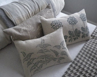 hand printed classic muted green blue  fern cushion