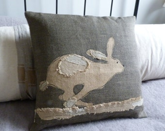 hand printed reversible applique charcoal  running hare cushion cover
