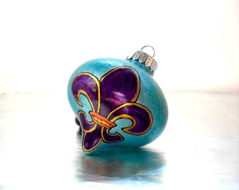 Purple Fleur de lis Hand Painted Glass Ornament, Wide Teardrop Glass Decorative Art Holiday Decor