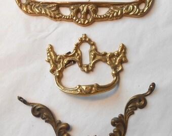 Brass Vintage Drawer Hardware 3 Pieces