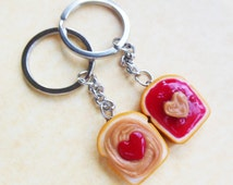 Polymer Clay Peanut Butter and Jelly Strawberry Jam Hearts Best Friend Bff Friendship Key Chain Set Key Rings or Necklace, best friends