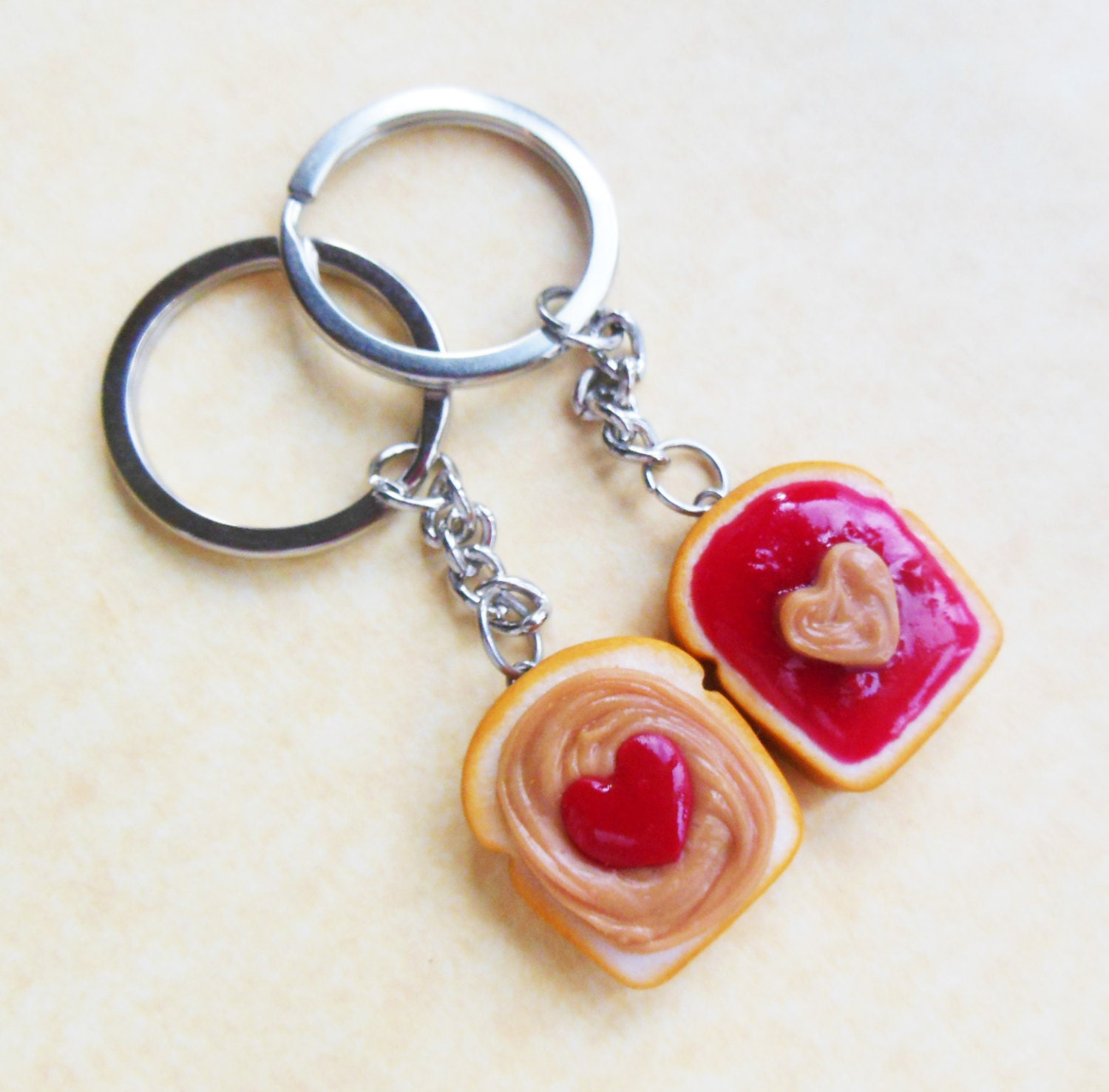 Polymer Clay Peanut Butter and Jelly Strawberry Jam Hearts