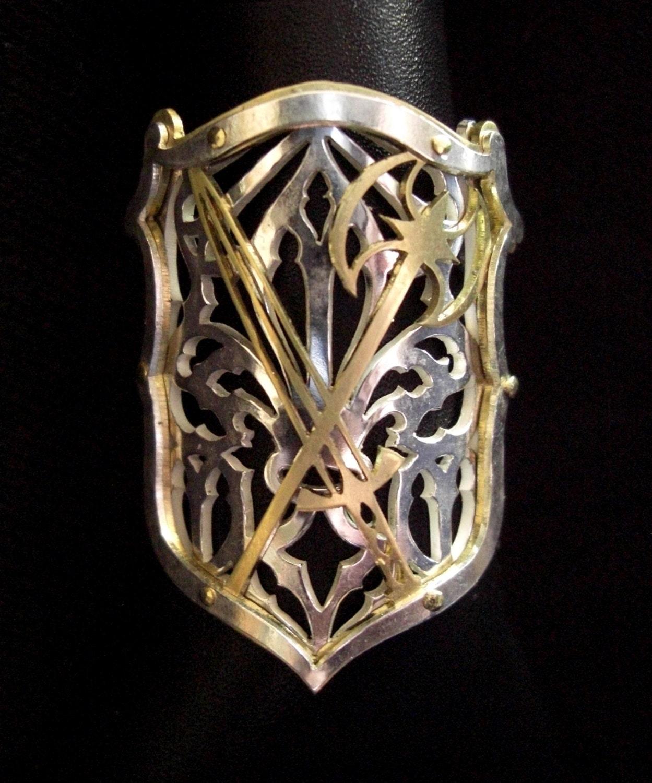 Shield Ring With Fleur De Lis